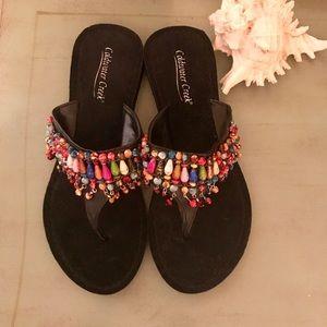 Coldwater Creek beaded sandals! NWOT So cute!!